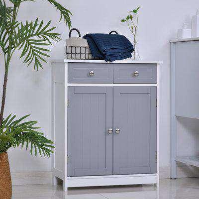 kleankin MDF 2-Drawer Bathroom Cabinet Bathroom Vanities Grey