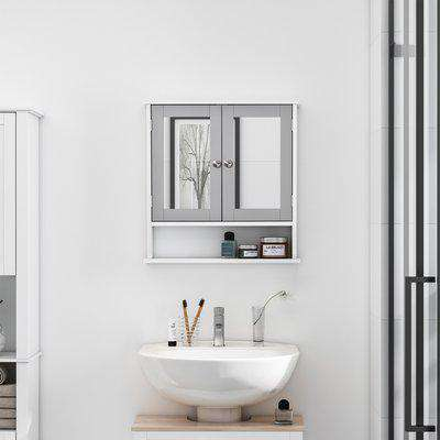 kleankin Mirror Cabinet Wall Mounted with Double Mirrored Doors, Hanging Cabinet with Cupboard and Shelf, Bathroom Wall Storage Organizer, Grey