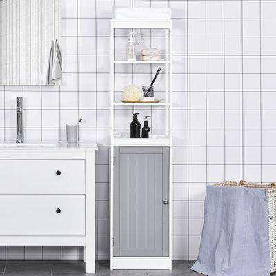 kleankin Tall Bathroom Cabinet Free Standing Slimline Cupboard Tallboy Unit Storage Organiser for Bathroom, Living Room, Kitchen