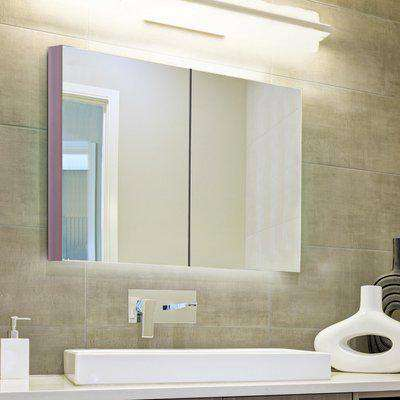 kleankin Wall Mounted Glass Bathroom Mirror Cabinet Storage Shelf, 63Wx60Hx13.5T cm-Light Walnut