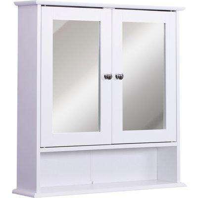 Kleankin Wall-mounted Bathroom Cabinet Mirror Door, 56L x 13W x 58Hcm-White