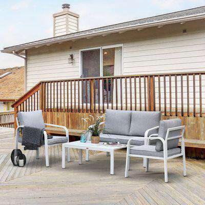 Outsunny 4-Seater Outdoor PE Rattan Table and Chairs Set White/Grey