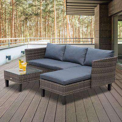 Outsunny 3-Seater Outdoor Garden PE Rattan Furniture Set Grey