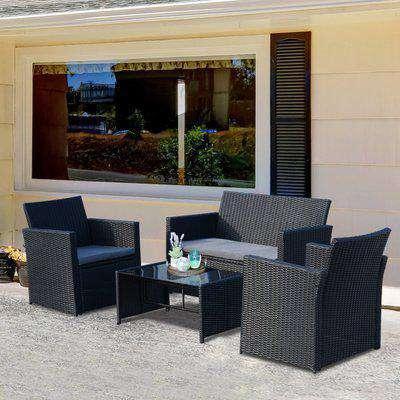 Outsunny 4-Seater Outdoor Garden PE Rattan Sofa Set w/ Coffee Table Black