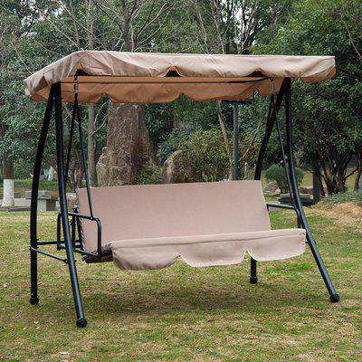 Outsunny 2-in-1 Patio Swing Chair 3 Seater Hammock Cushion Bed Lounger Tilt Canopy Garden