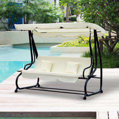 Outsunny 2-in-1 Patio Swing Chair 3 Seater Hammock Cushion Bed Tilt Canopy Garden Bench