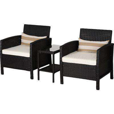 Outsunny 2-Seater PE Rattan Side Table & Armchair Bistro Set w/ Pillows Black