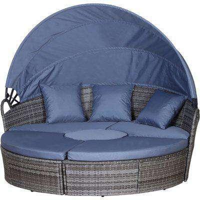 Outsunny 6-Seater Outdoor Garden Rattan Sun Bed Furniture Set Grey
