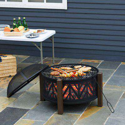 """Outsunny 2-in-1 Outdoor Fire Pit Bowl with BBQ Grill Grate 30"""" Steel Heater with Spark Screen Cover, Fire Poker for Backyard Bonfire Outdoor Cooking"""