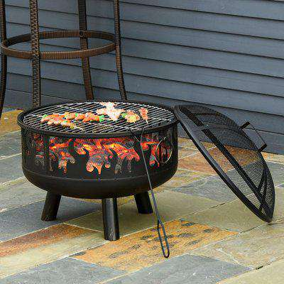 Outsunny 2-in-1 Outdoor Fire Pit with Cooking Grate Steel BBQ Grill Bowl Heater with Spark Screen Cover, Fire Poker for Backyard Bonfire Patio