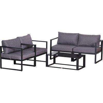 Outsunny Aluminium Frame Outdoor Garden Double & Single Sofa Furniture Set w/ Table Grey