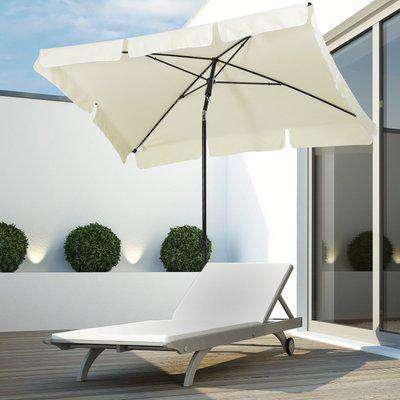 Outsunny Aluminium Sun Umbrella Parasol Patio Garden Tilt 2M x 1.25M Cream White