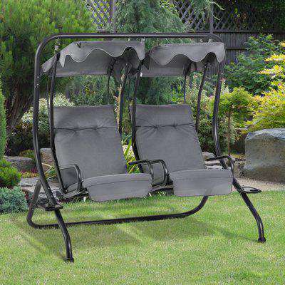 Outsunny Canopy Swing Modern Outdoor Relax Chairs w/ 2 Separate Chairs, Headrests and Removable Sun Shade Canopy, Grey