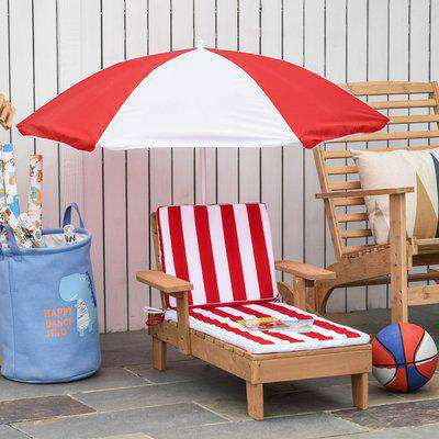 Outsunny Chaise Lounge Chair Wooden for Kids Lightweight with Foldable & Height Adjustable Parasol Cushion Outdoor Patio Beach Pool Camping Ceder Wood