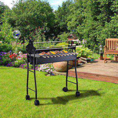 Outsunny Charcoal Barbecue Grill W/ 4 Wheels, size (85x36x90cm)-Black
