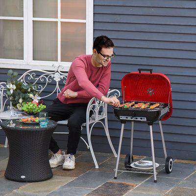 Outsunny Charcoal Barbecue, 45x47.5x70 cm-Red/Black