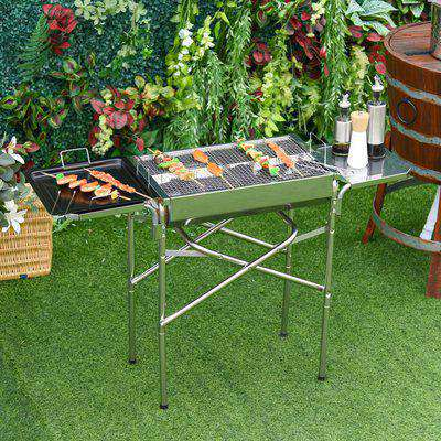Outsunny Charcoal BBQ Grill, Stainless Steel,68x30x104 cm-Silver