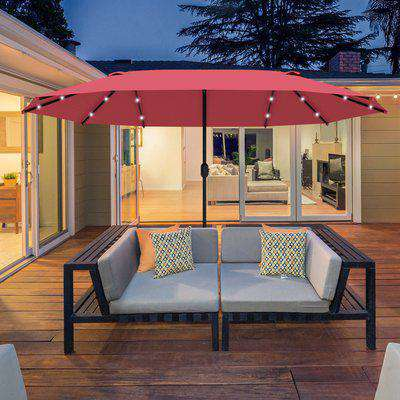 Outsunny 4.4m Double-Sided Sun Umbrella Garden Parasol Patio Sun Shade Outdoor with LED Solar Light Wine Red