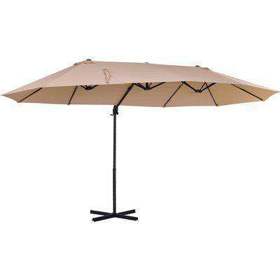 Outsunny Double Canopy Offset Parasol Umbrella Garden Shade w/ Steel Pole 12 Support Ribs Crank Handle Easy Lift Twin Canopy Beige