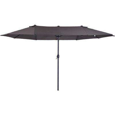 Outsunny 4.6m Double-Sided Patio Parasol Sun Umbrella-Grey