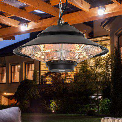 Outsunny 1500W Electric Patio Heater Aluminium Ceiling Mounted Heater with Infrared Remote Control for Indoor and Outdoor Use, Black