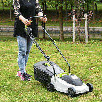 Outsunny Electric Rotary Lawnmower with 32 cm Cutting Width, 25L Grass Box, Height Adjust, Space-Saving Garden Feature, 1300W
