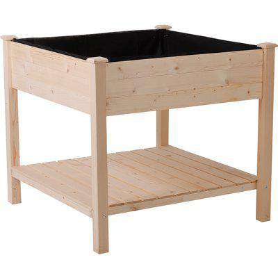 Outsunny Elevated Garden Planting Bed Stand Outdoor Flower Box w/ Storage Shelf