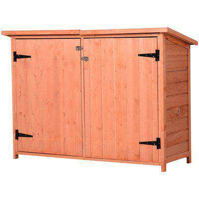 Outsunny Fir Wood Garden Storage Shed Double Door 128x50x90cm