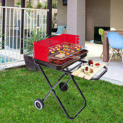 Outsunny Foldable Charcoal Barbecue Grill W/ Wheels-Red & Black