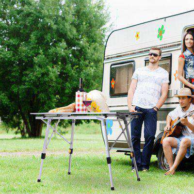 Outsunny 3FT Folding Aluminium Picnic Table Portable Camping BBQ Table Roll Up Top with Carrying Bag Silver
