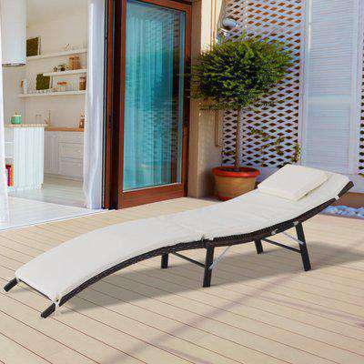 Outsunny Folding Rattan Sun Lounger Outdoor Recliner Chair Garden Furniture w/ Cushion