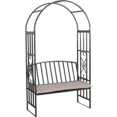 Outsunny Garden Arbor Arch Bench Padded Seat Outdoor Steel