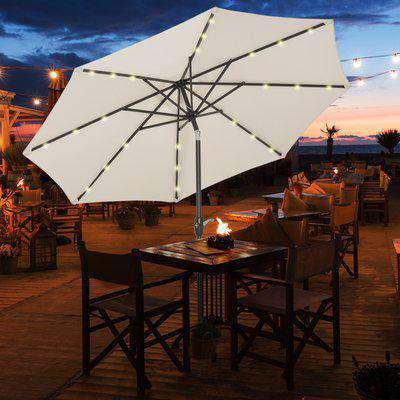 Outsunny Garden 24 LED Light Parasol Outdoor Tilt Sun Umbrella Patio Club Party Event Manual Sun Shade w/ Hand Crank Off-white