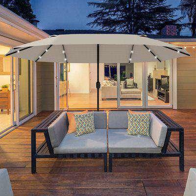 Outsunny Garden Parasol 4.4m Double-Sided Sun Umbrella Patio Sun Shade Outdoor with LED Solar Light , Khaki