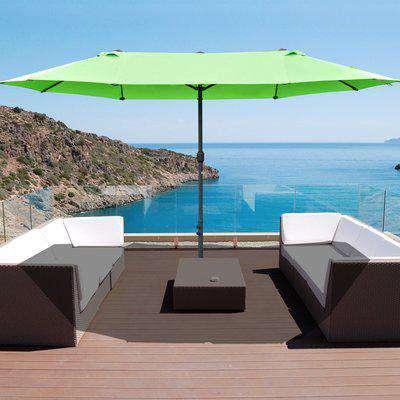 Outsunny 4.6m Garden Parasol Double-Sided Sun Umbrella Patio Market Shelter Canopy Shade Outdoor Green