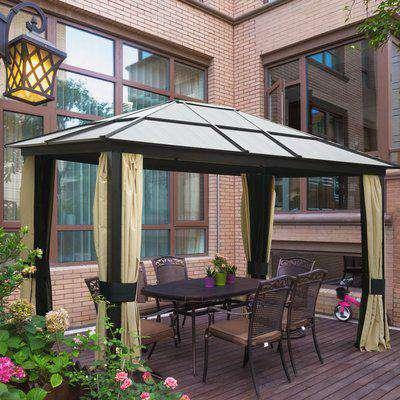 Outsunny Garden Party Tent Gazebo 3x3.6 m-Brown/Beige