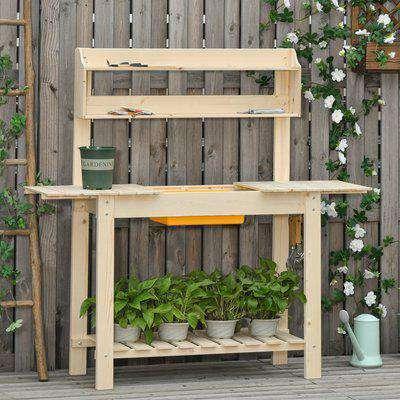 Outsunny Garden Potting Bench w/ Sliding Tabletop, Wooden Workstation w/ Dry Sink, Outdoor Workbench Potting Table w/ Storage Shelf & Hooks, Natural