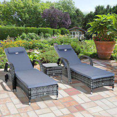 Outsunny Garden Rattan Furniture 3 PC Sun Lounger Recliner Bed Chair Set with Side Table Patio Wicker-Grey