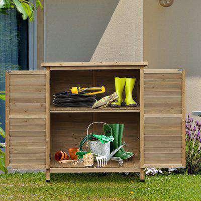 Outsunny Garden Storage Unit Solid Fir Wood Garage Organisation Sturdy Cabinet Outdoor