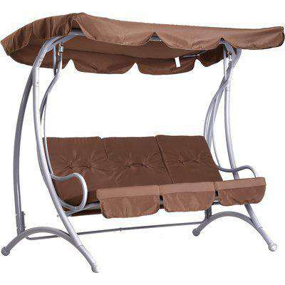 Outsunny 3 Seater Garden Swing Chair Metal Bench Coffee Outdoor Patio Swinging Hammock Cushioned Bench Seat