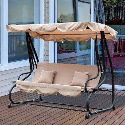 Outsunny 3 Seater Garden Swing Chair Beige Outdoor Convertible Chair Bench Garden Hammock Patio Canopy Bed