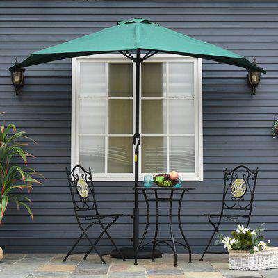 Outsunny 3(m) Half Parasol Semi Round Umbrella Patio Metal Frame Crank Handle for Balcony-- NO BASE INCLUDED, Green
