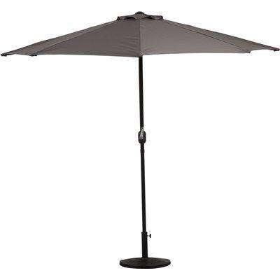 Outsunny Half Round Umbrella Outdoor Balcony Parasol Wall Sun Shade with 5 Ribs Grey, 2.7m