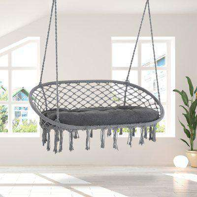 Outsunny Hanging Hammock Chair Cotton Rope Porch Swing with Metal Frame and Cushion, Large Macrame Seat for Patio, Garden, Living Room, Dark Grey