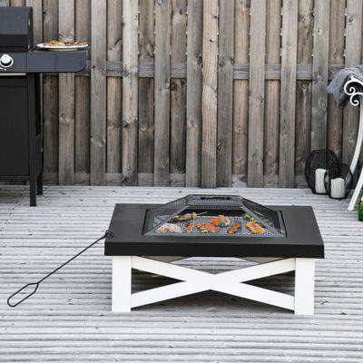 Outsunny 3 in 1 Square Fire Pit Square Table Metal Brazier for Garden, Patio with BBQ Grill Shelf, Spark Screen Cover, Grate, Poker, 86 x 86 x 38cm