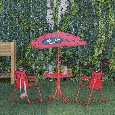 Outsunny Kids Folding Picnic Table and Chairs Set Ladybug Pattern Outdoor w/ Parasol