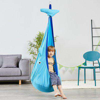 Outsunny Kids Pod Swing Seat Sensory Hammock Children Hanging Chair with 100% Cotton Canvas Hardware for Indoor and Outdoor Use Blue
