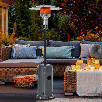Outsunny 12.5KW Outdoor Gas Patio Heater Freestanding Propane Heater with Wheels, Dust Cover, Regulator and Hose, Charcoal Grey