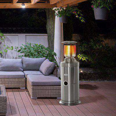 Outsunny 10KW Outdoor Gas Patio Heater Terrace Freestanding Bullet Style Heater with Wheels, Dust Cover, Regulator and Hose, Silver
