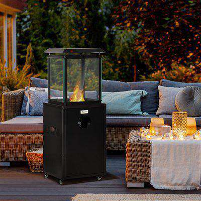 Outsunny 8KW Outdoor Patio Gas Heater Freestanding Garden Heater Real Flame Propane Heater with Wheels, Dust Cover, Regulator and Hose, Black